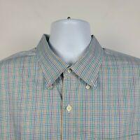 Peter Millar Green Blue Yellow Brown Check Plaid Mens Dress Button Shirt 2XL XXL