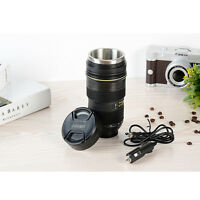 New Car Electric Heated Camera Lens Mug Stainless Steel Coffee Cup Thermos Mug