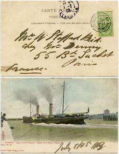 MARITIME SHIP LEOPOLD PAQUEBOT OSTENDE CANCELS BELGIUM 1905 PPC