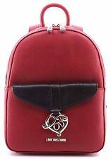 Damen Taschen Rucksack LOVE MOSCHINO Borsa New Saff Pvc Mix Rosso Nero Red Rot