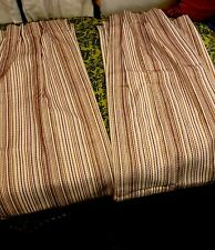Mid Century Modern Retro Tiki barkcloth Pinch Pleat Curtain Panels 24x85