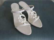 "Gucci White Leather Strappy ""GG"" Mules Size 6.5B"