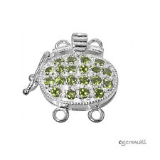 Sterling Silver 2 Strand Oval Box Clasp with Secure Lock CZ Green #51117