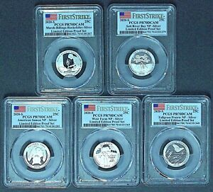 2020 S 25C ATB Silver Set All 5 Coins PR70DCAM Limited Edition First Strike