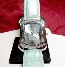 BURGI WATCH BTV011GN CRYSTALS LIGHT GREEN LEATHER STRAP LADY'S WATCH NEW BATTERY