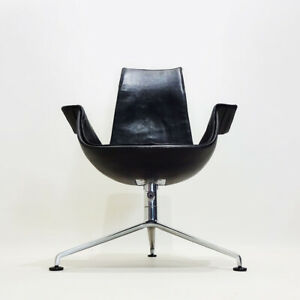 Rare reclining Black leather Tulip chair by Preben Fabricius and Jørgen Kastholm