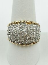 Size 10 Sterling Silver 925 Yellow Gold Plated Dome Zirconium Statement Ring