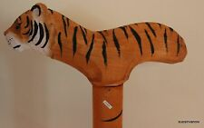 Cane Tiger Walking Hiking Custom Stick Wood Hand Carved Painted Quality