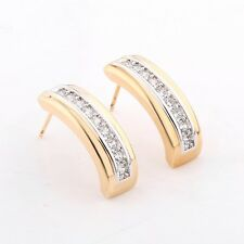 Yellow Gold Filled Channel Enchased Clear Sapphire Earrings Ear Studs Jewelry