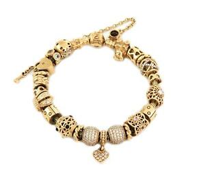 Pandora 14k Yellow Solid Gold 23 Charms Slide Cable Bracelet