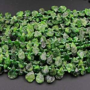 """Natural Green Chrome Diopside Teardrop Matte Rough Top Drilled Beads 16"""" Strand"""