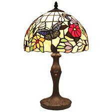 "Bieye Tiffany Style Stained Glass Butterfly Flower Table Lamp Handmade 12""W 18""H"