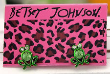E631 Betsey Johnson Green Tree The Frog Prince Iron Henry Frog Earrings US