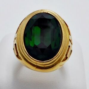 RING MEN CROSS EMERALD SOLITAIRE MEDIEVAL STAINLESS STEEL YELLOW GOLD SIZE 10 c