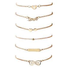 6Pcs/Pack Newly Womens Bracelets Gold Infinity 8 Heart Love Shape Bracelet Chain