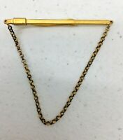 Vintage Signed Krementz Tie Clasp Long Thin Bar Clasp Gold Tone Chain