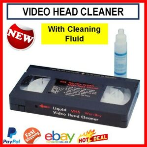 Video Head Cleaner Tape Cassette Wet System for VCR VHS Player & Cleaning Fluid