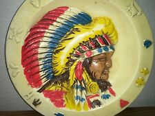 """Vintage Fairway 8.25"""" Yellow Decorative Colorful Native American Indian Plate !"""
