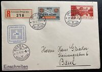 1938 Lausanne Switzerland Airmail First day cover To Basel Pro Aviation Cachet