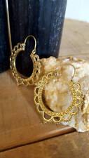 Brass Earrings in Gold Plated Brass Tribal Lotus Hoops Earrings Jewelry Circle