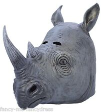 Mens Ladies Rhino Rubber Face Mask Animal Halloween Fancy Dress Costume Outfit
