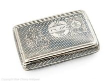 Antique Turkish Armenian Silver Niello Sweetheart Tobacco Case with Tughra Mark