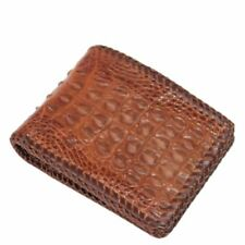 100% Genuine Crocodile Alligator Skin Leather Man Bifold Wallet Red Brown