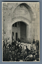 Palestine, Jerusalem, Pilgrims entering the Church  Vintage silver print.  Tir