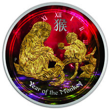 1/2 oz Silver Australia Lunar Year of the Monkey Colorized & Gold Gilded Coin