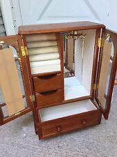 NEW Mele & Co. Cherry/Walnut Jewelry Box with Drawers Glass Doors