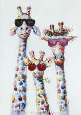 Giraffe Stretched Canvas Colourful Print Picture Wall Art 100 cm x 70cm