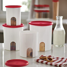 Tupperware Reminder Window Canisters 4pc Set New Design Red Seals +Free Gift New