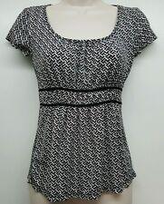 Ann Taylor black white red geo pattern empire waist tank blouse womens XS