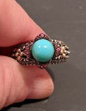 Barbara Bixby 925 SS 18k YG Turquoise & Rhodolite Garnet Ring, Size 9