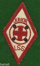 "VINTAGE  BOY SCOUT - RED CROSS JUNIOR LSS PATCH 3 x 5"" - FREE SHIPPING"