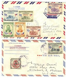HONDURAS 1959 ABRAHAM LINCOLN MEMORIAL OFFICIAL ISSUES ON 2 FDC's +ROTARY STAMP