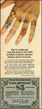 1974 Vintage ad for Sarah Coventry jewelry`fashion show party, hostess  (051214)