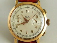 VETTA 18K PINK SOLID GOLD OVERSIZE 38 mm VALJOUX CAL 22 50'S CHRONOGRAPH