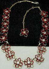 Vintage Estate Gold Red Metal Enamel Flower Rhinestone Necklace