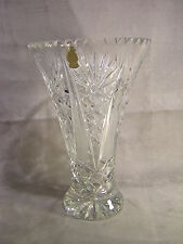 """Imperlux 10 1/4"""" Flared Hand Cut Lead Crystal Vase ~ Germany"""