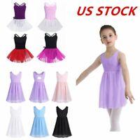 US Kids Girls Ballet Dress Gymnastics Leotard Tutu Skirts Performance Dancewear