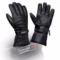 Thermal Motorbike Motorcycle Leather Gloves Waterproof Protection Genuine