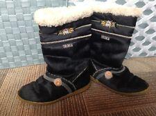 TECNICA Apres Boots BLACK Snow Ski GOAT FUR Winter ITALY Sz 38