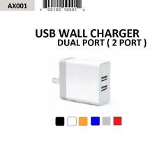WHOLESALE LOT 24 PCS DUAL PORT / 2 PORT 2.1A 10W ACCENT USB WALL CHARGERS