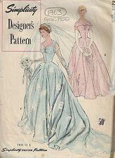 1950 Vintage Sewing Pattern B34 BRIDAL GOWN & BRIDEMAIDS DRESS (1763)