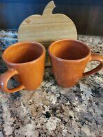 2 Pottery Barn Sausalito Large Coffee Mug Mustard Yellow Amber Fall Color