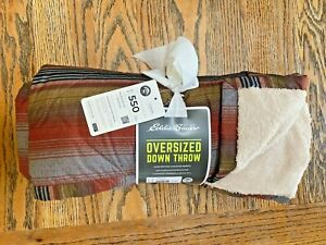 EDDIE BAUER, 550 Fill Oversized Down Throw, Dark Sable, Fleece lining, NWT
