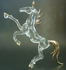LARGE Glass HORSE STALLION, MARE, Animal, Golden Glass Ornament, Glass Figure