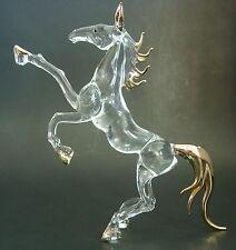 Cristal Grande Caballo Semental, Yegua, animal, figura de cristal de oro Cristal Ornamento,