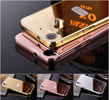 Slim Aluminum Metal Bumper Frame Case + Bling Mirror PC Back Cover For HTC Phone